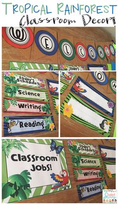 Tropical Rainforest & Jungle Theme Classroom Décor! Posters, Signs, Name Tags, Classroom Jobs, and so much more!