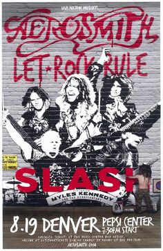 Concert poster for Aerosmith and Slash at The Pepsi Center in Denver, CO in 2014. 11 x 17 on card stock.