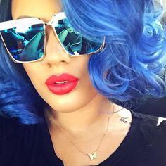"[ •Wig: @powderroomd •Shades: @fancykouture_accessories •Lippie: ""Coral Crush"" @doseofcolors ] #vivaglamkay"