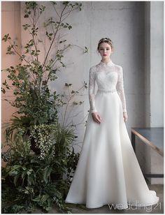 Long Sleeve Sashe Lace Satin Winter Wedding Gown – - Wedding Dress With Sleeves Muslimah Wedding Dress, Muslim Wedding Dresses, Western Wedding Dresses, Elegant Wedding Dress, Bridal Dresses, Lace Wedding, Gown Wedding, Party Wedding, Trendy Wedding