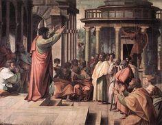 La Predicacion de Pablo en Atenas  Fecha: 1514-1515  Movimiento: Renacimiento  Técnica: Témpera  Museo: Museo Victoria y Albert  Ubicación: Londres, Reino Unido