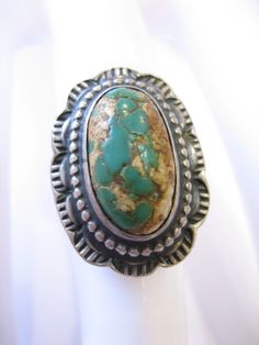 Vintage Navajo Green King's Manassa Turquoise Sterling Silver Ring by CLASSYBAG on Etsy