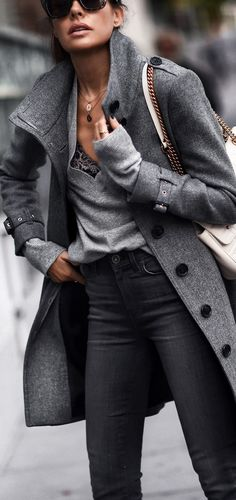 Gray sweater, black jeans, gray pea coat, winter outfit, work outfit