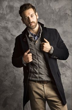 #StealHisLook for Fall/Winter with denim shirt, chunky collared sweater, overcoat