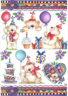 Laurie furnell Birthday Clipart, Birthday Wishes, Happy Birthday, Clip Art Pictures, Background Clipart, Cute Bears, Thing 1, Happy Planner, Homemade Cards
