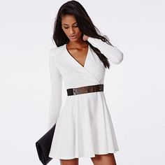 Shop White Long Sleeve V Neck Dress With Belt online. SheIn offers White Long Sleeve V Neck Dress With Belt & more to fit your fashionable needs. Ol Fashion, Dresses For Work, Formal Dresses, Spring Looks, Belted Dress, V Neck Dress, White Long Sleeve, Beautiful Outfits, Beautiful Clothes