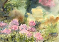 Alliums in the Garden by Vandy Massey. Watercolour of a garden scene. Soft and delicate. Sunlight on a bed of alliums