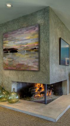 Corner Fireplace //  Pastel Lake