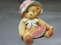 Cherished Teddies July Bear Julie A Day in the Park Figurine New in Box 914819 #CherishedTeddies #Enesco