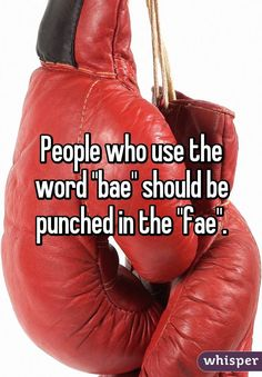 "People who use the word ""bae"" should be punched in the ""fae""."