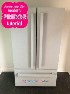 This American Girl Refrigerator is a fun build. The Fridge plans are easy to fol… - American Girl Dolls American Girl House, American Girl Crafts, American Girl Clothes, American Girls, American Girl Kitchen, Cosas American Girl, Ag Doll House, Barbie House, Ag Doll Crafts