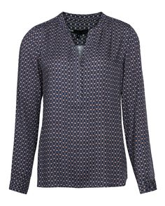 DAMES ALL-OVER PRINT BLOUSE Donkerblauw