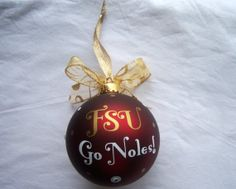 FSU Personalized Glass Ornament by SimplyDeevines on Etsy, $16.00
