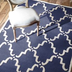 Divina Navy Hand Tufted Wool Rug #laylagrayce