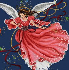 A lovely angel brings her magic in the evening skies. Stitch Count: 215 width x 240 height 24 DMC Thread Colors  Fabric colour: Navy Blue or