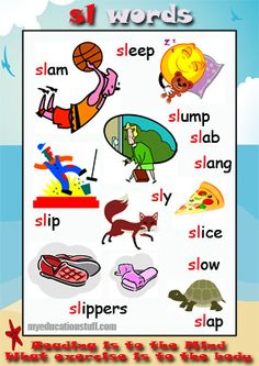 Phonics Poster - FREE & Printable- words starting with sl-  Nice phonics poster for your Word Wall, the fridge or the back of the bathroom door.