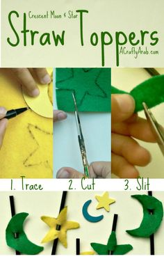 A Crafty Arab Crescent Moon and Star Straw Toppers. These felt crescent moon and star straw toppers are a great diy craft for little kids.  They can be made into different shapes and be used on pencils or suckers too.   Today's tutorial was made by my youngest daughter and she felt (pun intended) that it was very easy.   Supplies Felt Pen Scissors …