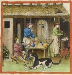 Making White Cheese - Tacuinum Sanitatis (ÖNB Codex Vindobonensis, series nova 2644), c. 1370-1400