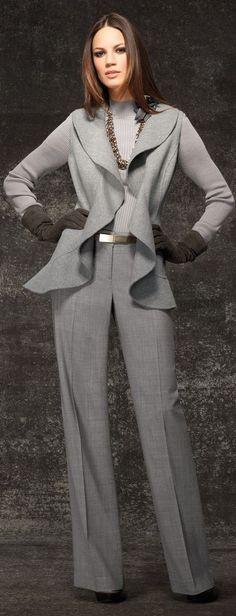 Danijela Dimitrovska for St. John ~ Wool Jacket and Pant, Heather Grey Grey Fashion, Work Fashion, I Love Fashion, Passion For Fashion, Womens Fashion, Fasion, Fashion Outfits, Fashion Trends, Look Chic