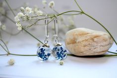 Real Queen Anne's Lace Resin Orb Earrings. Resin Sphere Ball Globe Earrings with Blue dried Queen Anne's Lace flowers. by MagicPotionMaker