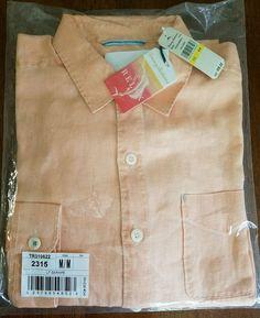 NWT Tommy Bahama Sea Glass Breezer Linen Shirt LONG SLEEVE $98 Light Serape  #TommyBahama #ButtonFront