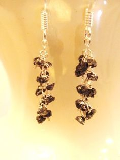 Cascading Black Rough Diamond Earrings by Created2Inspire on Etsy, $125.00