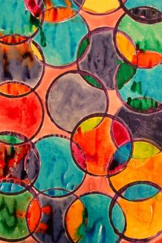 40 Easy Watercolor Painting Ideas For Beginners Watercolor Circles, Easy Watercolor, Watercolor Paintings, Watercolors, Kindergarten Art, Preschool Art, Classe D'art, Shape Art, Beginner Painting