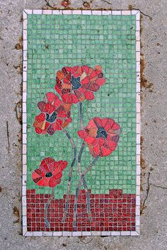 Cimetière du Montparnasse, Paris, France - mosaic poppy headstone - Poppy for 11am 11th day 11th month - in remembrance ...