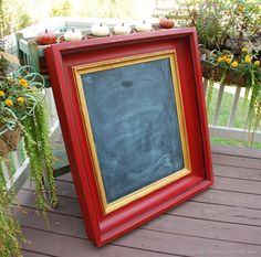 Luscious Red Chalkboard Frame - Emperor's Silk Chalk Paint™ by Susan of Uniquely Yours or Mine