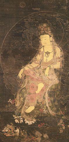 """Water-Moon Avalokiteshvara """"… one of the most popular Buddhist deities in East Asia, Avalokiteshvara (Gwaneum), the bodhisattva of infinite compassion and wisdom. Here he is shown as the Water-Moon Avalokiteshvara (Suwol Gwaneum), one of his numerous. Lotus Buddha, Art Buddha, Buddha Kunst, Korean Art, Asian Art, Chinese Painting, Chinese Art, Mudras, Art Asiatique"""