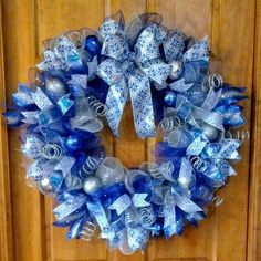 Christmas wreath, Christmas ruffle deco mesh wreath, Christmas decorations mesh wreath, Christmas gift, blue Christmas wreath, deco mesh wreath, Christmas decorations, christmas decor