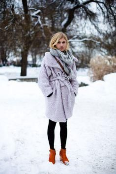 Lavender coat, gray scarf, oversized sweater, black leggings and Swedish Hasbeens makes for a perfect cozy winter outfit idea to try! Yay for how to wear pastels in winter!