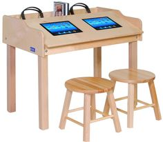 Double-Wide Single-Sided Technology Table   Honor Roll Childcare Supply - Daycare Furniture and Preschool Supplies