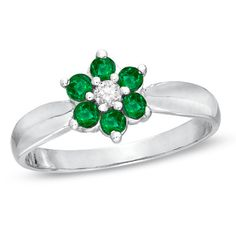 Emerald and Diamond Accent Flower Ring in 14K White Gold