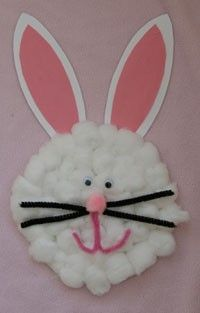 Easter craft (bunny made from cotton balls, paper plate and construction paper)
