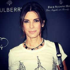 Sandra Bullock wears our Tom Binns Design SS14 Certain Ratio pearl and crystal necklace to the BAFTA party in LA