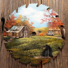 """Fall Log Cabin with Bear Round Blade 10-11"""" 