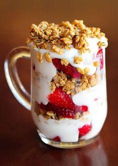 Tomorrow's breakfast. Oatmeal, chopped fruits, granola and yoghurt. Yum!