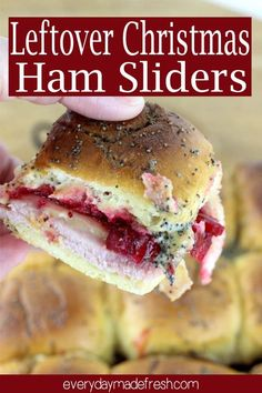 Take those holiday leftovers and transform them into something everyone will love. Leftover Christmas Ham Sliders are quick and simple to make! Leftovers Recipes, Easy Dinner Recipes, Great Recipes, Favorite Recipes, Delicious Recipes, Easy Meals, Christmas Ham, Christmas Breakfast, Christmas Brunch