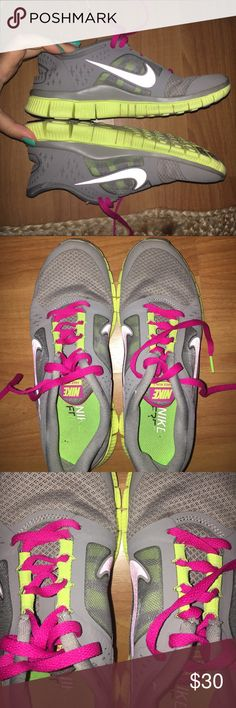 NIKE FREE RUN 3 Pink, gray and lime green NIKE FREE RUN 3--- inside symbol worn, good condition though... make reasonable offers!!! Nike Shoes Sneakers