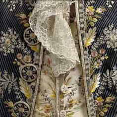Detail of Gentleman's waistcoat and lace stock, 1780s
