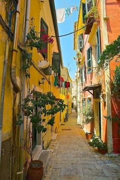 Old town Corfu Greece
