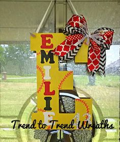 Coach's Gift Wooden Softball Letter by TrendtoTrendWreaths on Etsy