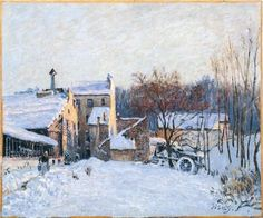 Alfred Sisley A Farmyard at Chaville-December, 1879 Oil on canvas, 46 x cm Private Collection European Paintings, Classic Paintings, Renoir, Claude Monet, Mary Cassatt, Sisley Alfred, Impressionist Landscape, Impressionist Paintings, Oil Paintings