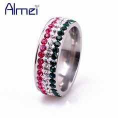 Find More Rings Information about Almmei Colorful CZ Diamond Rings for Women Emerald Jewelry with Cubic Zirconia Stainless Steel Ring Los Anillos de Boda YL001,High Quality ring feather,China ring wireless Suppliers, Cheap ring settings for gemstones from Almei Jewelry Store on Aliexpress.com