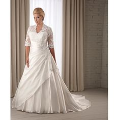 Shop Luxurious Wedding Dresses A-line 3/4 Long sleeve Chapel Train/ Lace Flower Ruching Wedding Dresses