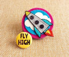 Felt Rocket Brooch with Fly High Button Badge by madebylolly