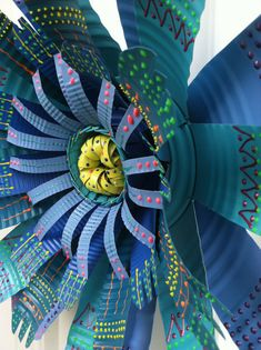 Colorful Large Handmade Tin Can Flower Art Wall Decor - Garden Decor