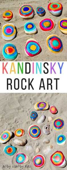 Arty Crafty Kids Art Kandinsky Inspired Rock Art A fun interpretation of Kandinsky's famous concentric circles. A great way for kids to learn about famous artists and create their own colourful nature art with rocks. Kadinsky For Kids, Kadinsky Art, Rock Kunst, Art For Kids, Crafts For Kids, Art With Toddlers, Kids Art Works, Kids Nature Crafts, Rock Painting For Kids