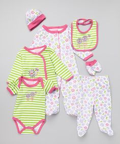 Look at this Duck Duck Goose Pink & Green Garden Flower Seven-Piece Layette Set on #zulily today!